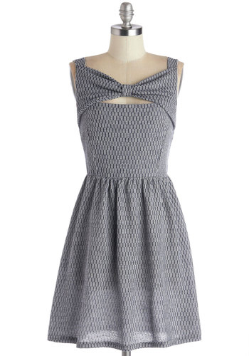 Picnic Dinner Dress - Blue, Print, Bows, Cutout, Casual, A-line, Sleeveless, Better, Woven, Grey, Mid-length