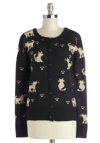 I'll Miss Mew Cardigan - Black, Tan / Cream, Print with Animals, Long Sleeve, Better, Knit, Cats, Button Down, Scoop, Buttons, Casual, Halloween, Mid-length, Black, Long Sleeve