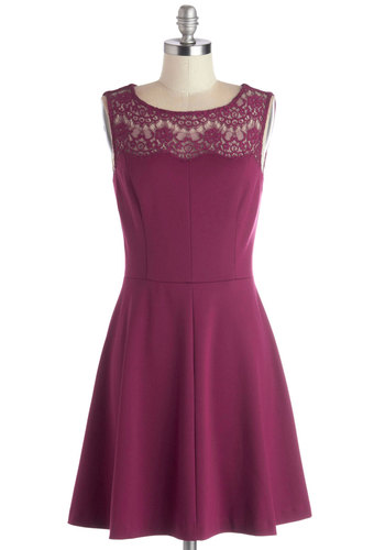 Conifer What It's Worth Dress in Fuchsia - Mid-length, Knit, Sheer, Solid, Lace, Party, A-line, Sleeveless, Better, Scoop, Variation, Pink, Wedding, Bridesmaid