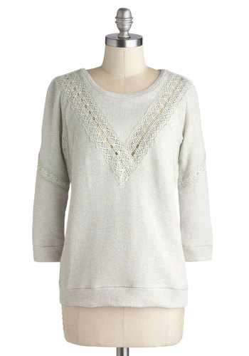 Chili Night Sweater - Grey, Solid, Casual, Better, Crew, Mid-length, Sheer, Knit, 3/4 Sleeve, Crochet, Grey, 3/4 Sleeve