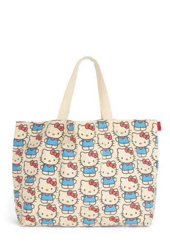 Kitten the Road Tote - Woven, Red, Blue, Print with Animals, Novelty Print, Casual, Cats, Cream, Kawaii