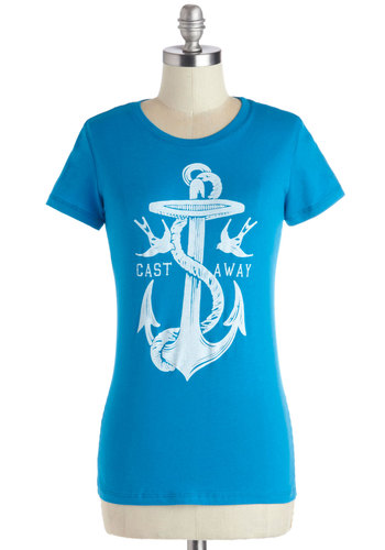 All-Star Castaway Tee - Blue, Novelty Print, Casual, Nautical, Short Sleeves, Better, Mid-length, Cotton, Knit, Jersey, White, Crew, Blue, Short Sleeve