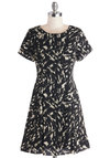 Abstract Interpretation Dress - Black, Print, Casual, A-line, Short Sleeves, Better, Scoop, Short, Woven, White
