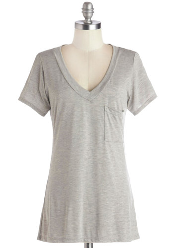 Simply Styled Tee in Heather Grey - Mid-length, Jersey, Knit, Grey, Solid, Pockets, Casual, Minimal, Short Sleeves, V Neck, Good, Variation, Basic, Grey, Short Sleeve