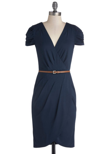 Book Exchange Brunch Dress - Blue, Solid, Ruching, Short Sleeves, Good, V Neck, Knit, Mid-length, Pleats, Belted, Work, Sheath / Shift