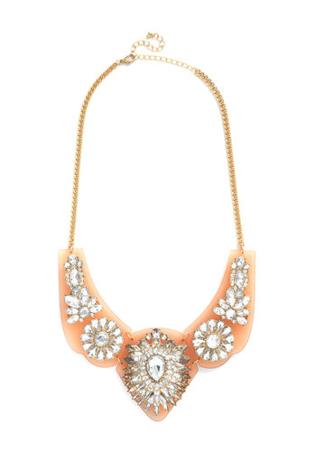 Stun in a Million Necklace - Orange, Rhinestones, Formal, Prom, Wedding, Cocktail, Holiday Party, Statement, Gold
