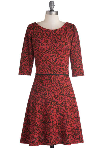 Floral Fruition Dress by Louche - Red, Black, Floral, Exposed zipper, Casual, A-line, 3/4 Sleeve, Better, International Designer, Scoop, Mid-length, Knit