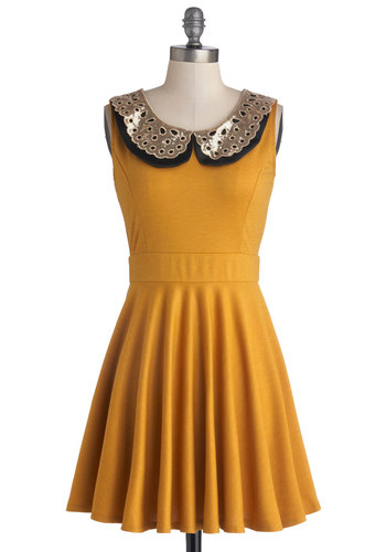 Two Happy Hearts Dress in Mustard - Yellow, Black, Crochet, A-line, Sleeveless, Good, Collared, Knit, Short, Gold, Peter Pan Collar, Party, Variation, Gals, Full-Size Run