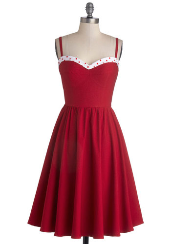 The Neyla Dress in Rouge by Stop Staring! - Woven, Red, White, Spaghetti Straps, Best, Sweetheart, Vintage Inspired, Fit & Flare, Variation, Valentine's, Americana, Daytime Party, 50s, Party, Full-Size Run, Long, Exclusives