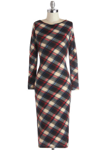 Fashion Fortitude Dress - Casual, Vintage Inspired, Sheath / Shift, Long Sleeve, Good, Knit, Long, Red, Blue, Tan / Cream, Black, Plaid, Multi, Exposed zipper, Work, Boat