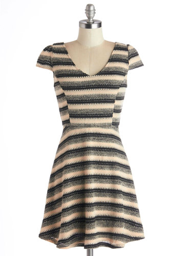 Collaborate and Glisten Dress - Stripes, Casual, Sweater Dress, Cap Sleeves, Good, V Neck, Short, Knit, Tan / Cream, Black, Grey, A-line, Fall, Winter