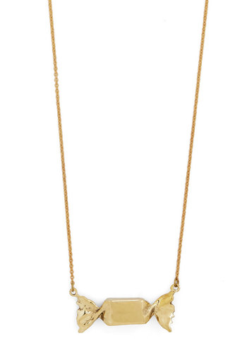 Taffy Talk Necklace - Solid, Quirky, Gold, Better