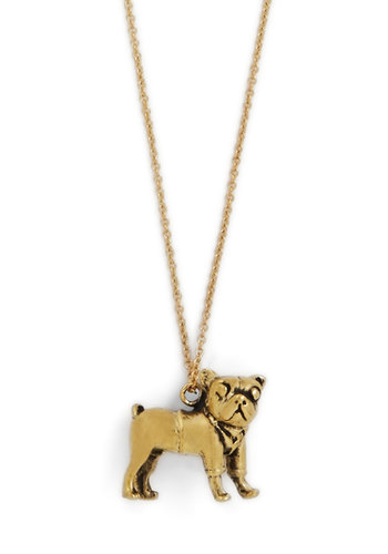Get Dressed Pup Necklace - Print with Animals, Gold, Better, Solid