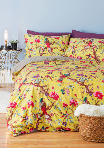 Flora and Fauna and Fabulous Duvet Cover Set in Full/Queen by Karma Living - Cotton, Woven, Green, Multi, Floral, Print with Animals, Dorm Decor, Critters, Bird, Woodland Creature, Spring, Summer