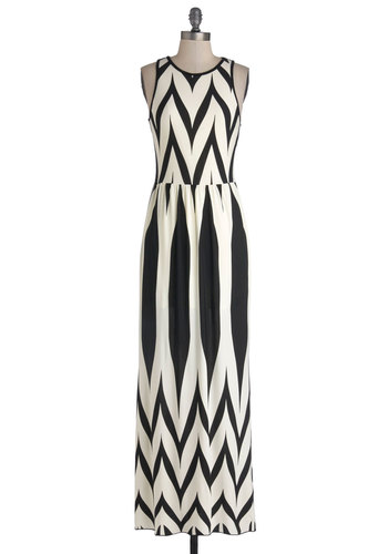Artistic Ambition Dress - Casual, Maxi, Good, Scoop, Long, Jersey, Knit, Black, White, Racerback, Print