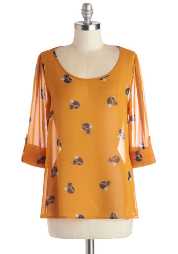 Daily Lunch Date Top in Foxes - Print with Animals, Casual, Quirky, 3/4 Sleeve, Scoop, Mid-length, Chiffon, Sheer, Woven, Yellow, Black, White