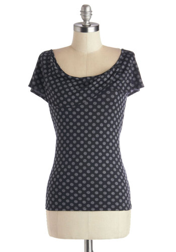 Laid-back to Basics Top - Jersey, Knit, Polka Dots, Short Sleeves, Scoop, Mid-length, Blue, Grey, Exclusives, Blue, Short Sleeve