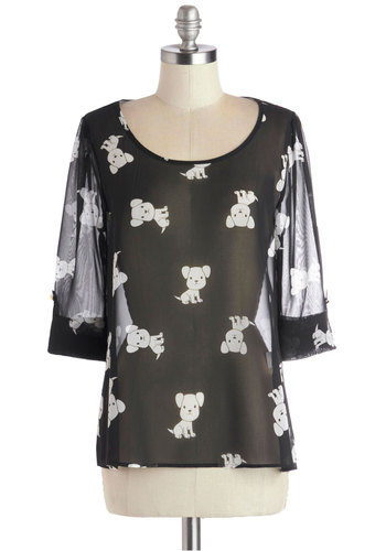 Daily Lunch Date Top in Dogs - Black, White, Print with Animals, Casual, Quirky, 3/4 Sleeve, Scoop, Chiffon, Sheer, Woven, Mid-length, Black, 3/4 Sleeve, Critters