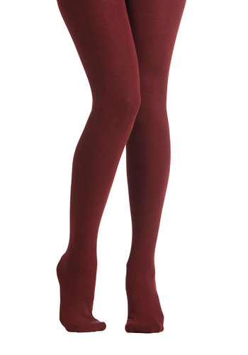 Truly Trustworthy Tights in Burgundy - Knit, Red, Solid, Fall, Winter, Better, Variation, Basic