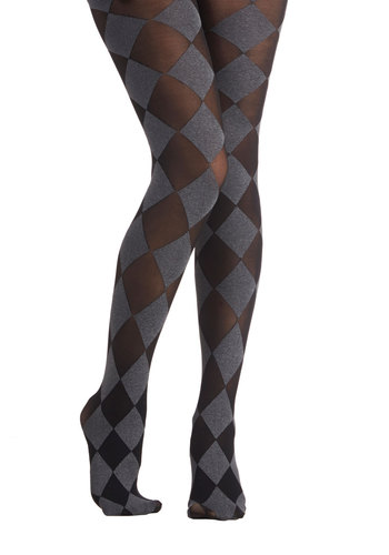 Diamond in Awe Tights - Sheer, Knit, Checkered / Gingham, Fall, Winter, Better, Black, Grey, Special Occasion, Holiday Party, 90s