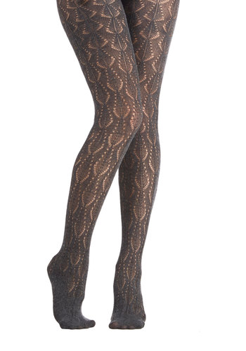 From the Hearth Tights in Charcoal - Sheer, Knit, Grey, Solid, Special Occasion, Holiday Party, Luxe, Best, Variation