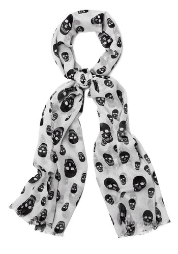 Head Over Heels Scarf - Woven, White, Black, Halloween, Better, Skulls, Novelty Print, Statement