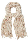 Lattice Make a Deal Scarf in Cream - Knit, Cream, Solid, Fringed, Casual, Fall, Winter, Better, Variation, Holiday