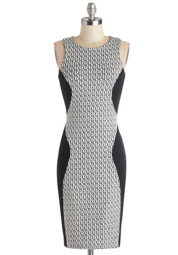 Raise Helvetica Dress - Mid-length, Knit, White, Print, Work, Sheath / Shift, Sleeveless, Better, Black, Exposed zipper, Bodycon / Bandage, 90s