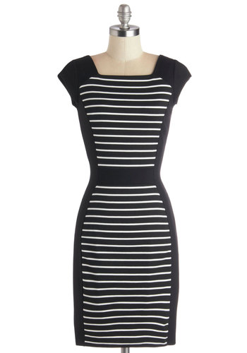 Got Gumption Dress by Closet - Mid-length, Knit, Black, White, Stripes, Exposed zipper, Work, Shift, Cap Sleeves, Better