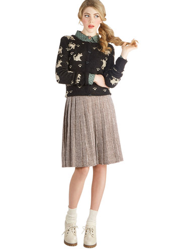 Straight to the Topiary Skirt - Brown, A-line, Mid-length, Woven, Print, Pleats, Vintage Inspired, Better, Stripes, Scholastic/Collegiate, Brown