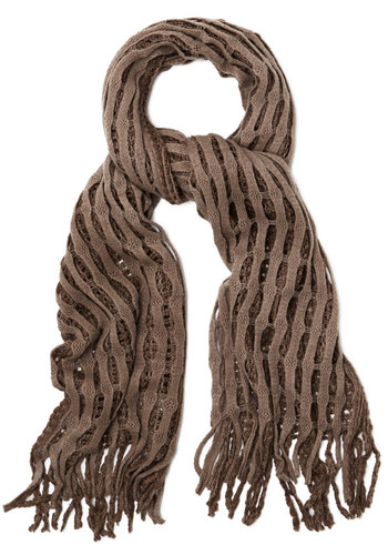 Lattice Make a Deal Scarf in Taupe - Knit, Grey, Solid, Fringed, Casual, Fall, Winter, Better, Variation