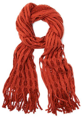 Lattice Make a Deal Scarf in Orange - Knit, Orange, Solid, Fringed, Casual, Fall, Winter, Better, Variation