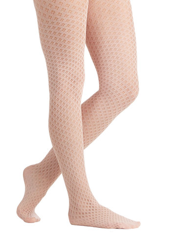 Betsey Johnson Airy Tale Tights by Betsey Johnson - Sheer, Knit, Pink, Solid, Better, Eyelet