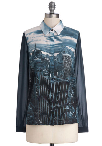 Urbane Developer Top - Blue, White, Buttons, Long Sleeve, Better, Sheer, Woven, Mid-length, Novelty Print, Urban, Button Down, Collared, Casual, Blue, Long Sleeve