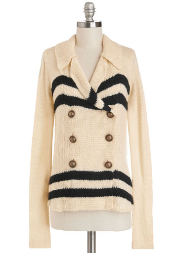 Letter of Recommendation Cardigan - Cream, Stripes, Long Sleeve, Better, Mid-length, Knit, Black, Buttons, Military, Double Breasted, Collared, Casual, White, Long Sleeve