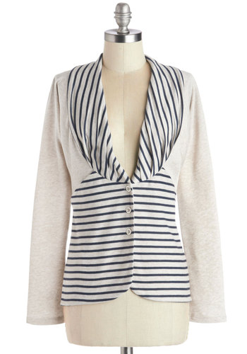 Bayside by Side Cardigan - Cream, Blue, Stripes, Pockets, Long Sleeve, Better, Jersey, Knit, Mid-length, Buttons, Nautical, Collared, White, Long Sleeve