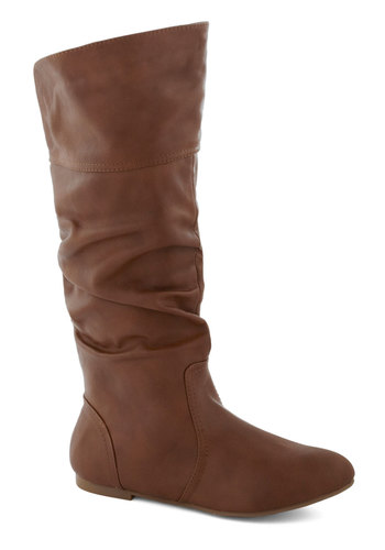 Theater in the Round Boot in Brown - Flat, Faux Leather, Tan, Solid, Minimal, Fall, Winter, Long, Calf, Variation