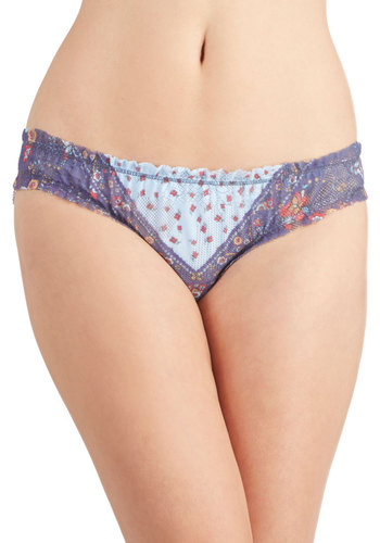 Cali Me Anytime Undies - Multi, Paisley, Vintage Inspired, Sheer, Knit, Purple, Boho