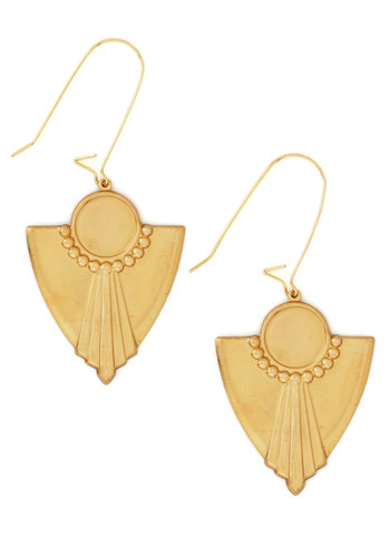 Noticeable Shine Earrings - Solid, Vintage Inspired, 20s, 30s, Gold, Better, 90s