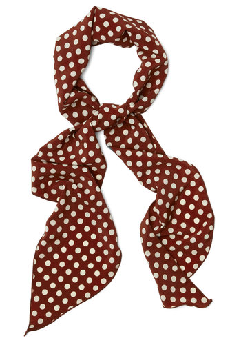 Levity Is Up to Me Scarf in Mahogany - White, Polka Dots, Good, Variation, Woven, Red, Vintage Inspired