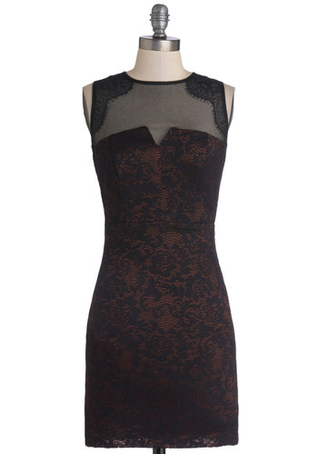 Taste of the Town Dress - Mid-length, Woven, Sheer, Knit, Black, Bronze, Lace, Cocktail, Bodycon / Bandage, Sleeveless, Good, Crew, Girls Night Out, Holiday Party