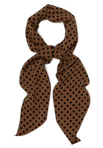 Levity Is Up to Me Scarf in Chestnut - Tan, Black, Polka Dots, Good, Variation, Woven, Chiffon, Vintage Inspired