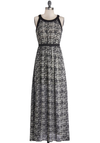 Choral Composition Dress - Long, Woven, Sheer, Black, White, Print, Cutout, Casual, Maxi, Sleeveless, Good, Scoop