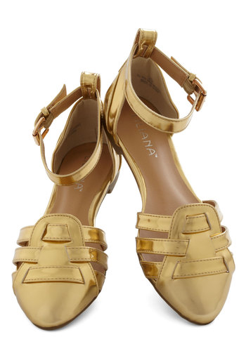 The Golden Days Flat - Flat, Faux Leather, Gold, Solid, Cutout