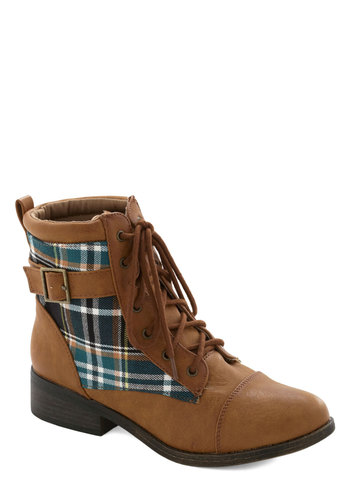 Spacious Skies Boot in Plaid - Low, Faux Leather, Woven, Brown, Green, Solid, Plaid, Buckles, Lace Up, Casual, Rustic, Fall, Variation