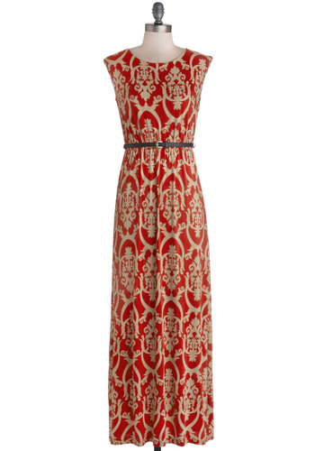 Debut Dramatist Dress - Long, Knit, Red, Tan / Cream, Print, Belted, Casual, Maxi, Sleeveless, Good