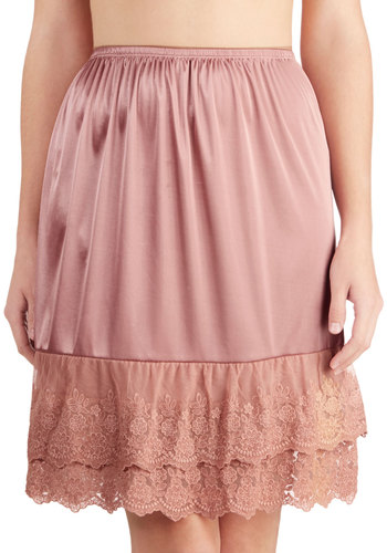 Can't Stop Dancing Half Slip in Dusty Rose - Sheer, Satin, Knit, Pink, Solid, Embroidery, Boudoir