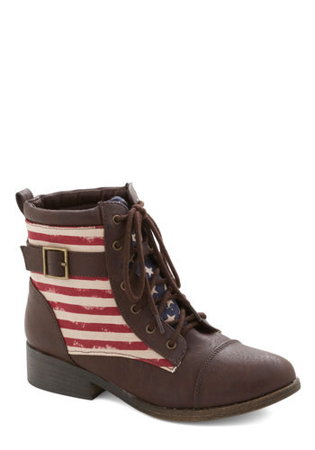 Spacious Skies Boot in Flag - Low, Faux Leather, Woven, Brown, Red, Blue, White, Solid, Stripes, Buckles, Lace Up, Novelty Print, Casual, Variation