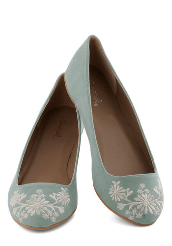 Petal Down the Lane Flat in Sage - Flat, Faux Leather, Green, Embroidery, Pastel, Good, Casual, Variation