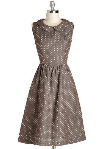Morning Roast Dress - Brown, Polka Dots, Peter Pan Collar, Casual, Vintage Inspired, 50s, A-line, Sleeveless, Good, Collared, Long, Woven, White, Pockets
